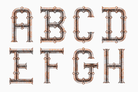 Alphabet made of rusty metal piping elements - letters A to H