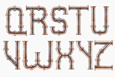 Alphabet made of rusty metal piping elements - letters Q to Z