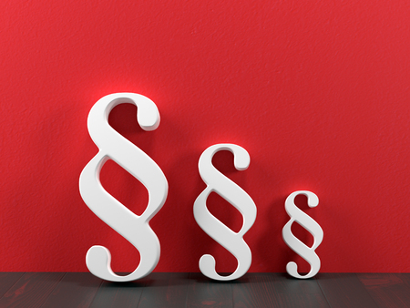 3D render of three different size white paragraph symbols leaning against red wall
