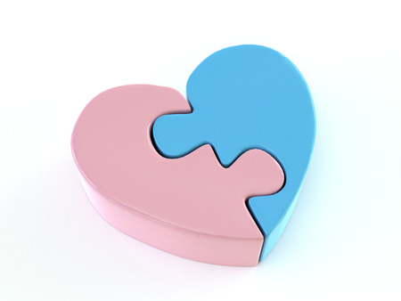 3D render of two jigsaw halves of heart shape in pink and blue color on white background 写真素材