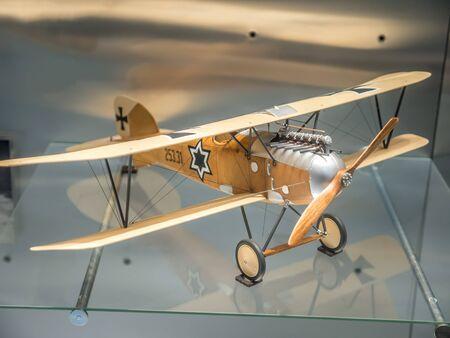 PRAGUE, CZECH REPUBLIC - MARCH 8 2017: Austro-Hungarian Albatros Oeffag DIII fighter 1918, National Technical Museum of Prague