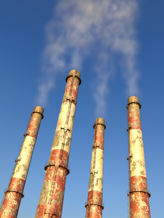 Four industrial chimneys generating pollution into the air Standard-Bild - 114007266