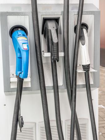 Closeup of electric car charging station