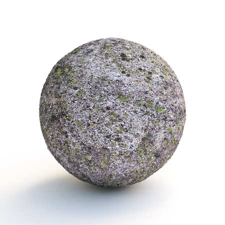 Concrete sphere covered with moss on white background