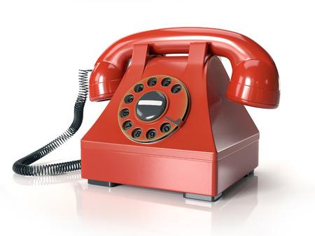 Red vintage telephone set on white background Stock Photo