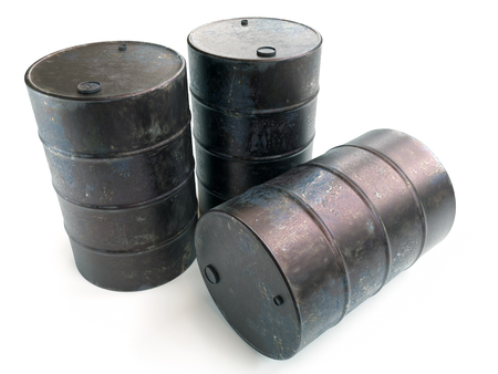 Three old rusty metal barrels on white background