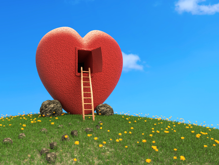 3D rendering of red heart-shaped lodge on grassy hill with yellow flowers