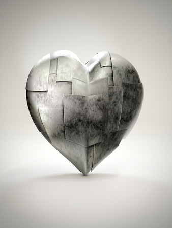 3D render of metal armoured heart on white background