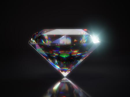 3D render of shiny cut diamond on black background
