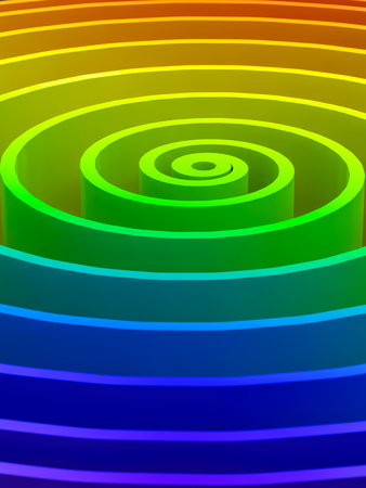 3D render closeup of spiral in rainbow colors