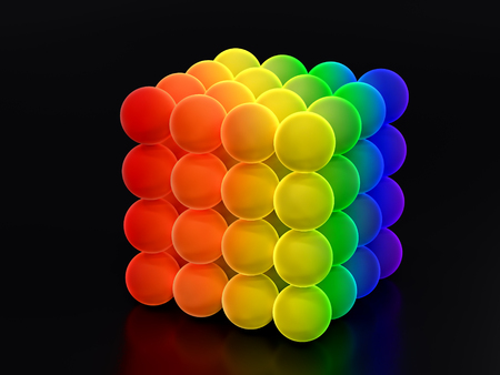 3D render of cube formed from glowing balls in rainbow colors on black background Stock Photo