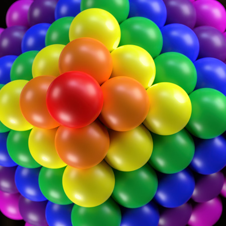 3D render of pyramid formed from balls in rainbow colors viewed from above