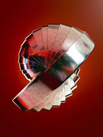 3D render of metal rings forming abstract shape on red background