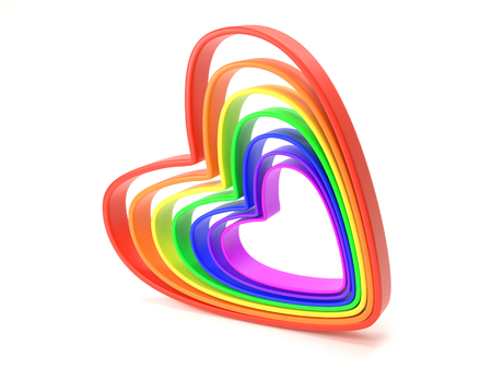 3D render of hearts in seven rainbow colors on white