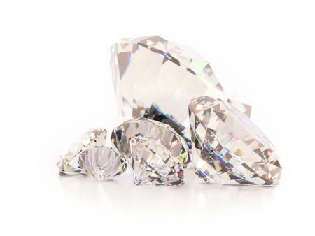 3D render of shiny cut diamonds on white background Stock Photo