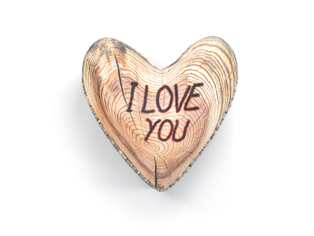 3D render of wooden heart with I LOVE YOU text on white Stock Photo