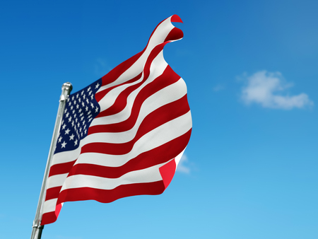3D render of American flag attached to thee pole waving against the sky Stock Photo