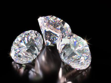 3D render of shiny cut diamonds on black background