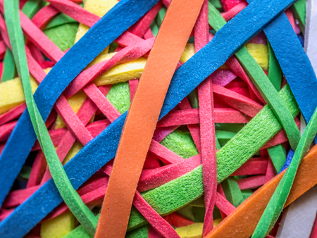 Closeup of tangled colorful rubber bands