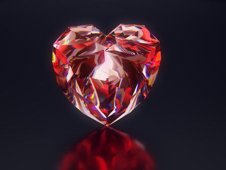 3D render of shiny red diamond heart on black background Stock Photo