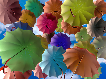 3D render of colorful umbrellas rising high into the sky Stock Photo