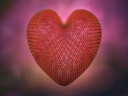 3D render of metal wired red heart against blurry purple background