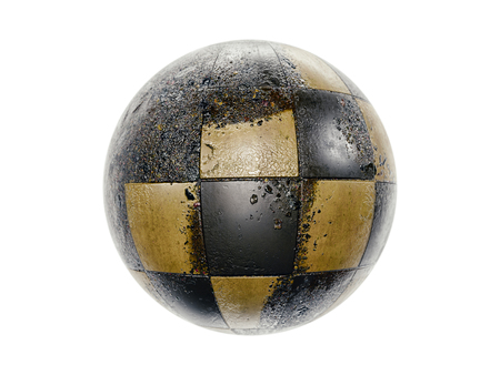 3D render of sphere covered with grunge damaged tiles on white