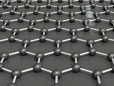 3d rendering of a graphene molecular structure - hexagonal geometric form