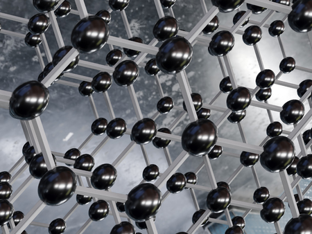 3d rendering of graphene molecular structure - hexagonal geometric form