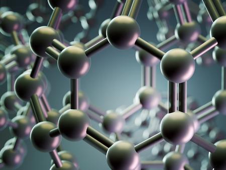 3d rendering of spherical fullerane molecules