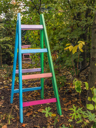 Colorful decorative wooden ladder left in the garden