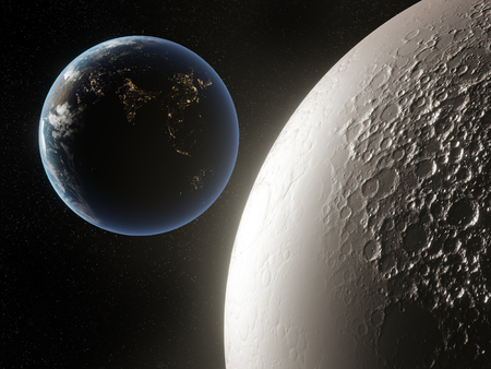3D render of Moon and Earth in outer space