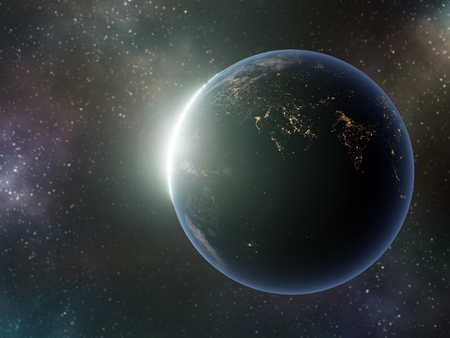 3D render of Planet Earth with Sun rising from behind against colorful galactic sky