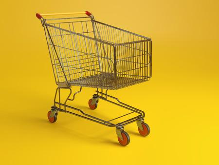 Metal shopping cart on yellow background