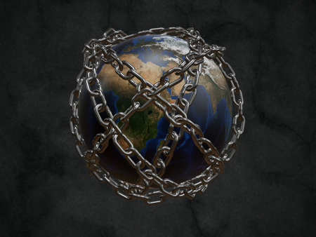 3D rendered planet Earth chained as metaphor of Prison Planet