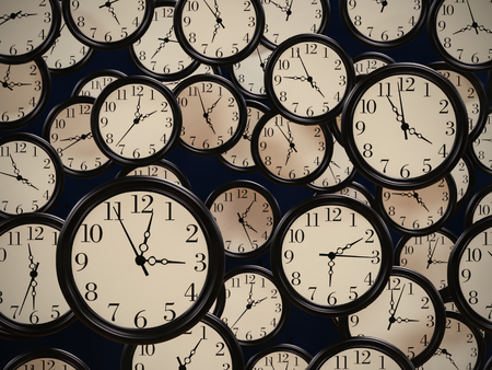3D render of many office clocks showing different time