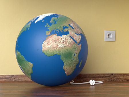 3D render of planet Earth resting on room wooden floor with electrical wire unplugged from wall socket - Earth Hour concept Banco de Imagens