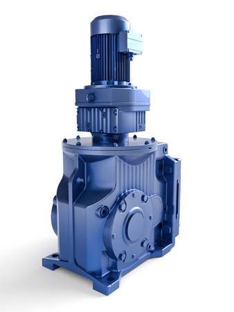 3D render of industrial electrical motor in blue housing on white