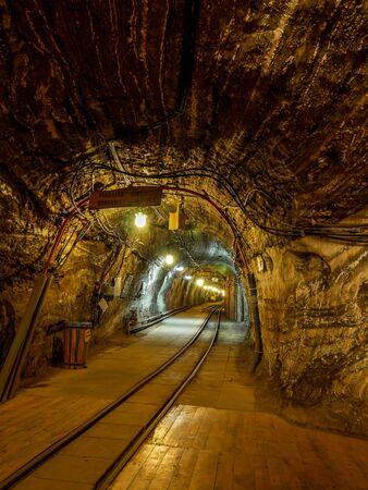 BOCHNIA, POLAND - 4 MAY, 2013: Passanger train station in old salt mine in Bochnia Salt Mine, Poland Redakční