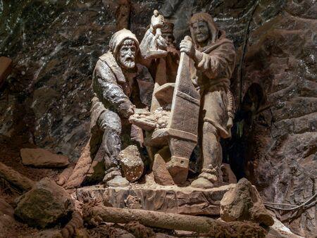 BOCHNIA, POLAND - 4 MAY, 2013: Crucifix chapel in historical salt mine chamber, Bochnia Salt Mine, Poland Redakční