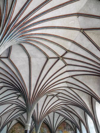 Gothic cloister canopy of Teutonic Malbork castle in Pomerania region,Poland. It is the largest brick fortress in the world