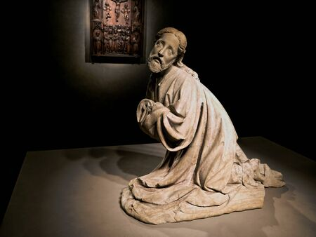 MALBORK, POLAND - 15 AUGUST, 2013: Statue of Jesus praying, museum in Teutonic Malbork castle, Poland. Malbork castle is the largest brick fortress in the world