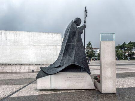 FATIMA, PORTUGAL - 6 APRIL, 2019:   Pope John Paul II statue at the square of Sanctuary of Fatima in Portugal Redakční