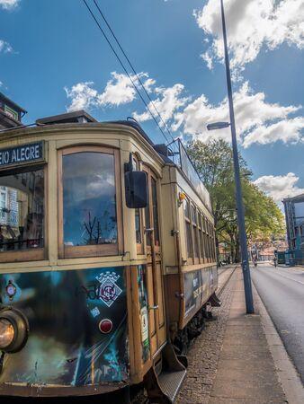 PORTO, PORTUGAL - 3 APRIL, 2019: Historical street tram in Porto, Portugal