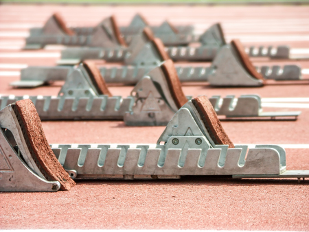 Closeup shot of starting blocks on racing track