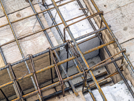 Closeup shot of steel bar reinforcement used for reinforcing concrete slab