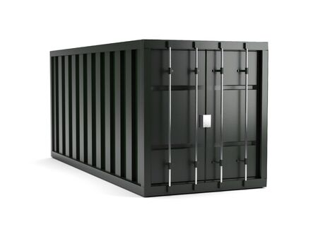 3D render of green metal cargo container on white