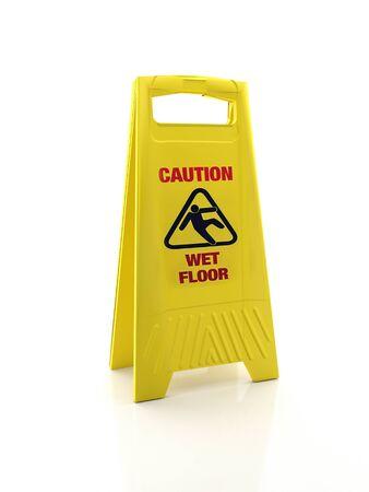 Geel waarschuwingsbord voor natte vloeren op witte achtergrond