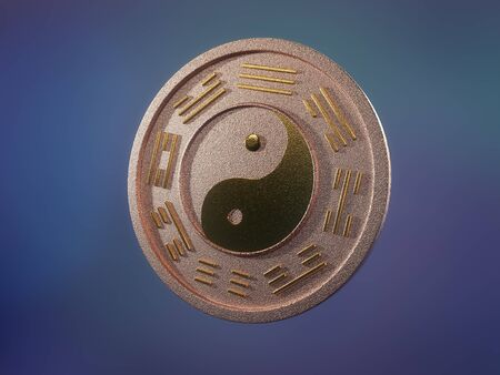 3D render of copper chinese ying-yang coin with golden inlays over bluish background Stock Photo