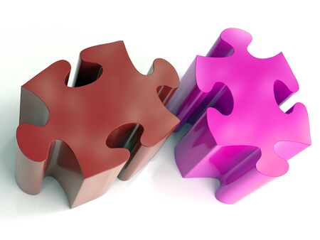 3D render of two color block jigsaw puzzle pieces on white